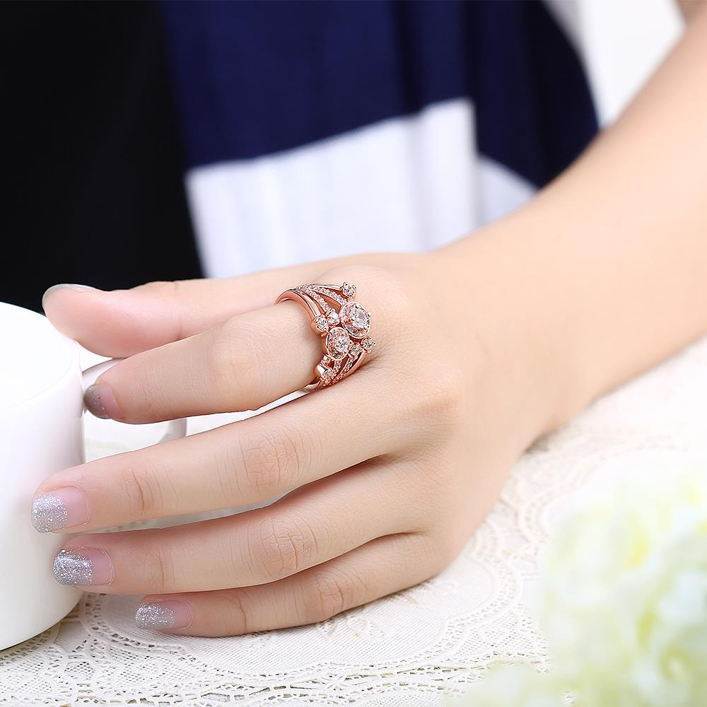 Wholesale Classic Rose Gold Round White CZ Ring TGGPR517 4