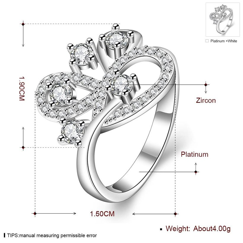 Wholesale Romantic Platinum Feather White CZ Ring TGGPR855 1