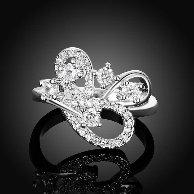 Wholesale Romantic Platinum Feather White CZ Ring TGGPR855 2