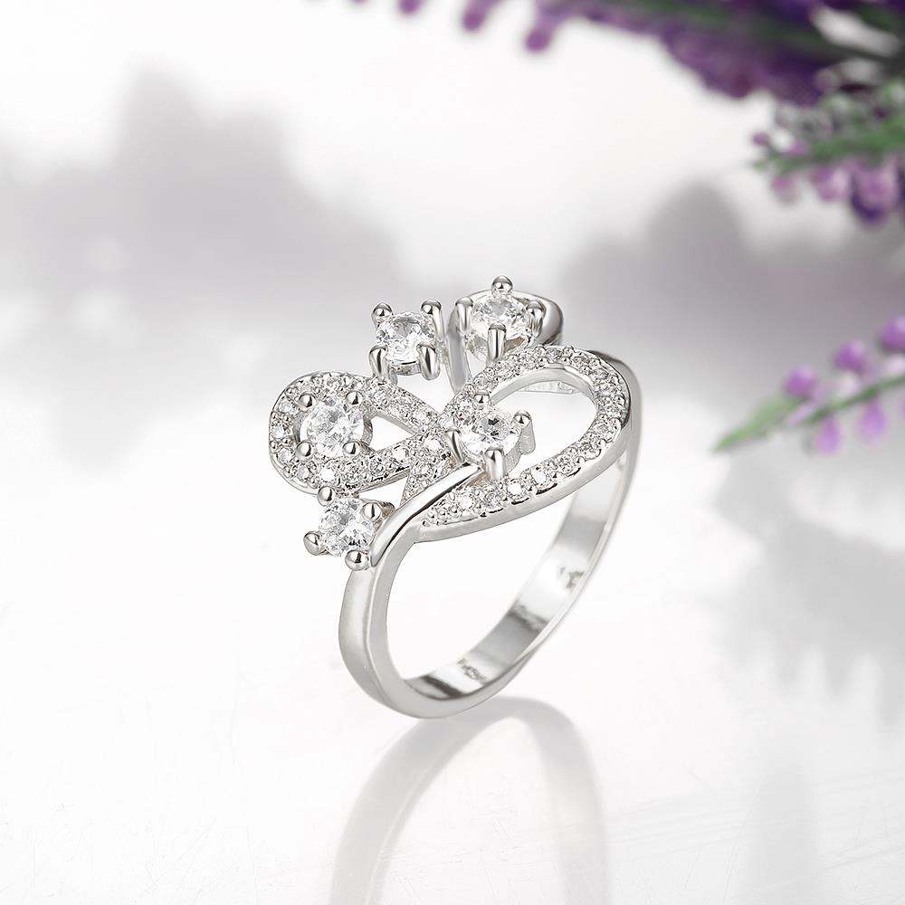 Wholesale Romantic Platinum Feather White CZ Ring TGGPR855 3