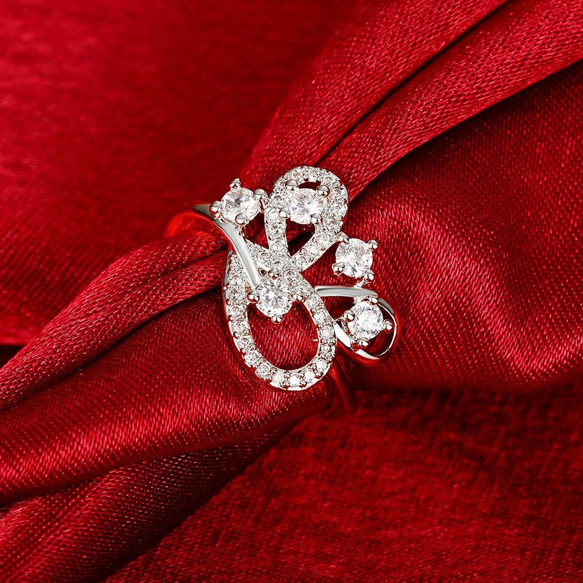 Wholesale Romantic Platinum Feather White CZ Ring TGGPR855 4