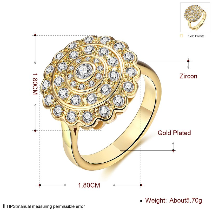 Wholesale Classic 24K Gold Round White CZ Ring TGGPR896 0