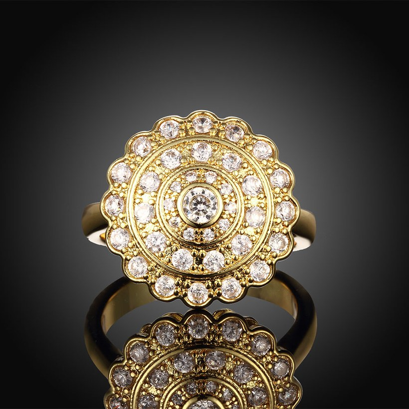 Wholesale Classic 24K Gold Round White CZ Ring TGGPR896 1