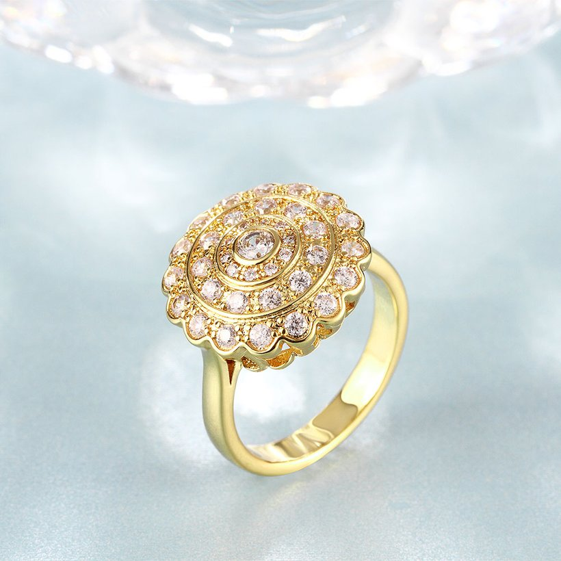 Wholesale Classic 24K Gold Round White CZ Ring TGGPR896 2