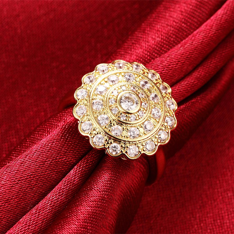 Wholesale Classic 24K Gold Round White CZ Ring TGGPR896 3