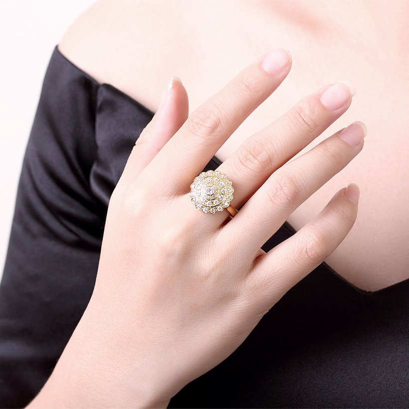 Wholesale Classic 24K Gold Round White CZ Ring TGGPR896 4