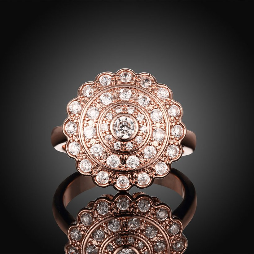 Wholesale Classic Rose Gold Round White CZ Ring TGGPR903 1