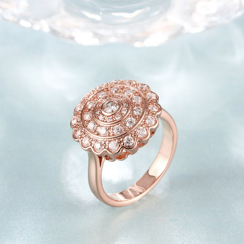 Wholesale Classic Rose Gold Round White CZ Ring TGGPR903 2