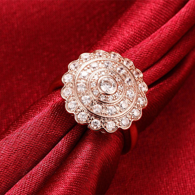Wholesale Classic Rose Gold Round White CZ Ring TGGPR903 3