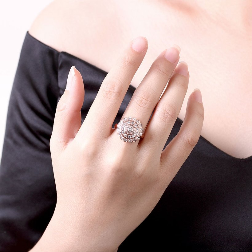 Wholesale Classic Rose Gold Round White CZ Ring TGGPR903 4