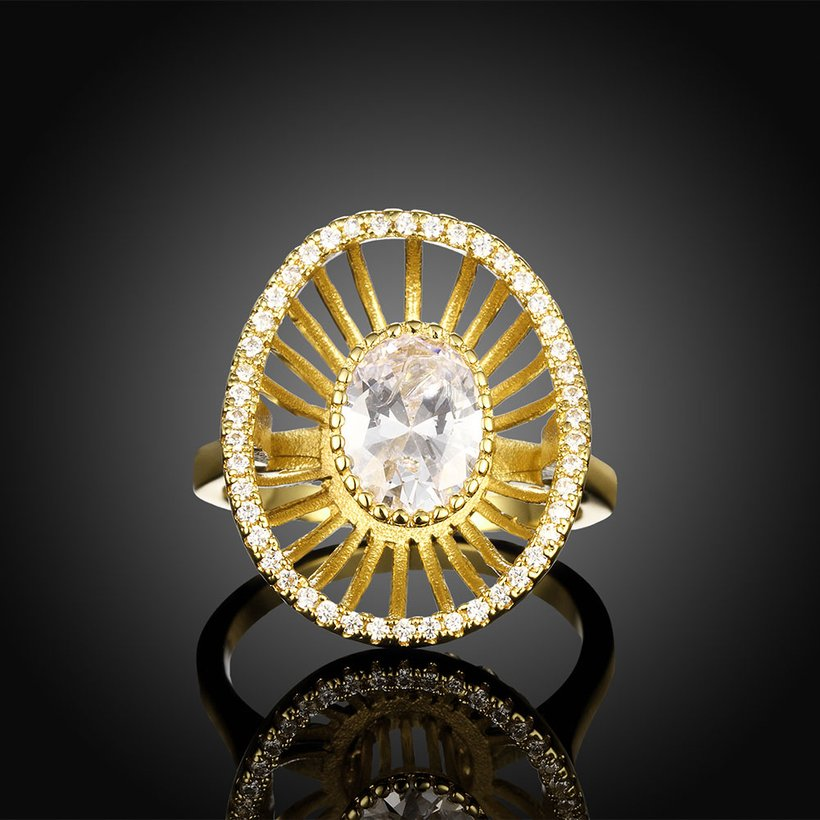 Wholesale Trendy 24K Gold Geometric White CZ Ring TGGPR917 0