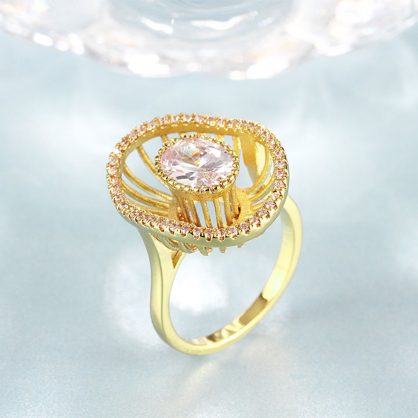 Wholesale Trendy 24K Gold Geometric White CZ Ring TGGPR917 1