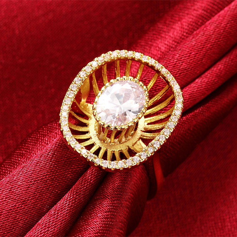 Wholesale Trendy 24K Gold Geometric White CZ Ring TGGPR917 2