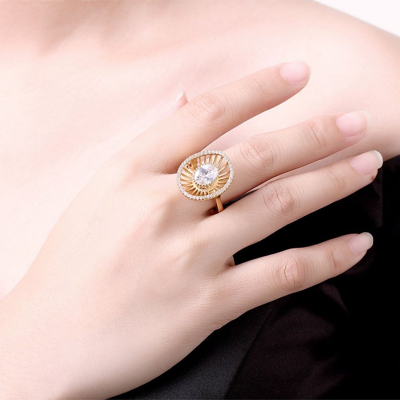 Wholesale Trendy 24K Gold Geometric White CZ Ring TGGPR917 3