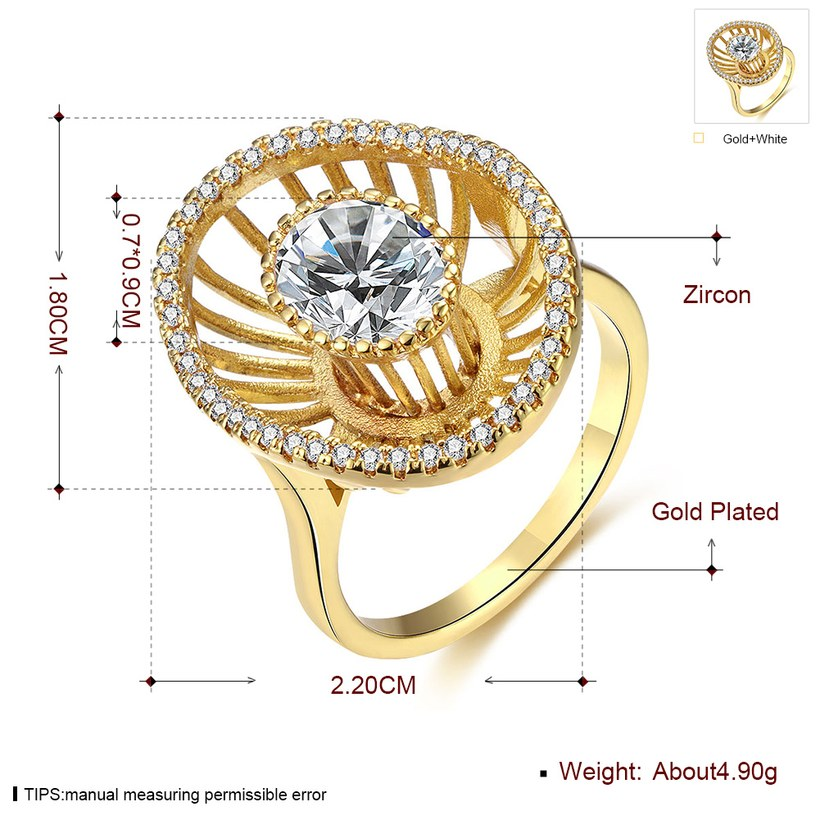 Wholesale Trendy 24K Gold Geometric White CZ Ring TGGPR917 4