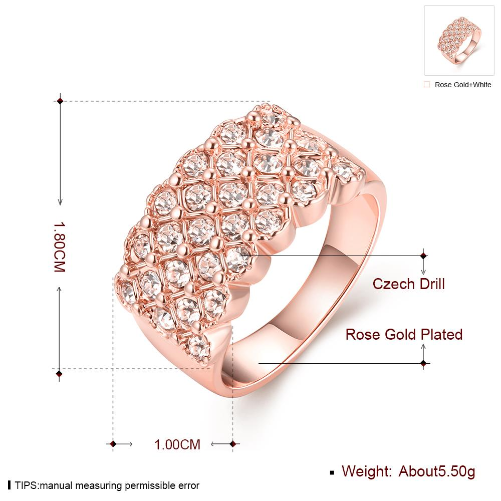 Wholesale Classic Rose Gold Plant White Rhinestone Ring TGGPR995 0