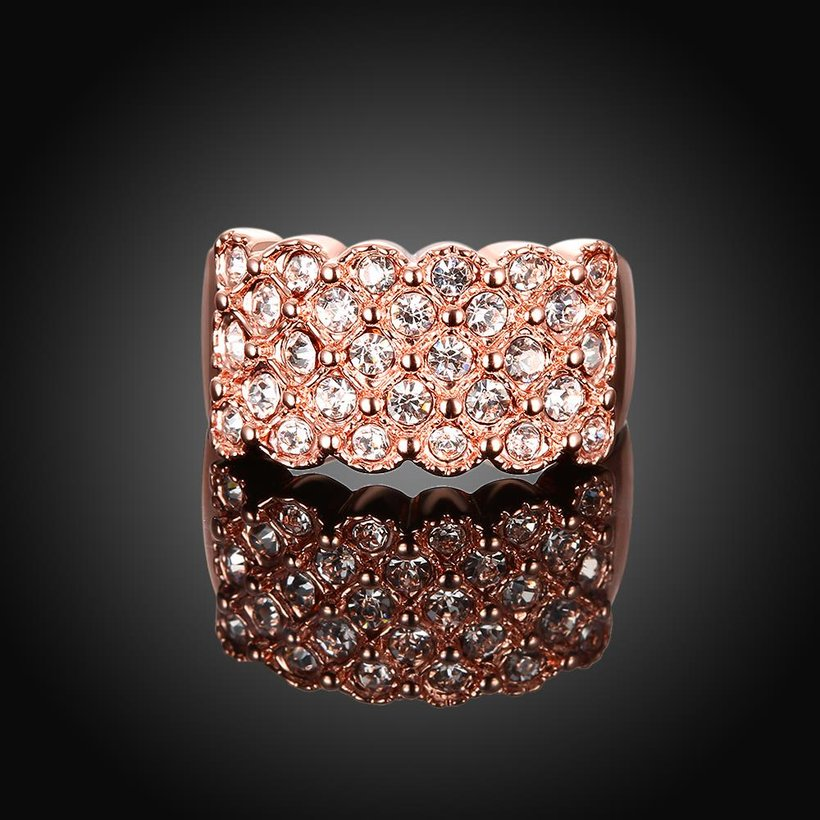 Wholesale Classic Rose Gold Plant White Rhinestone Ring TGGPR995 1