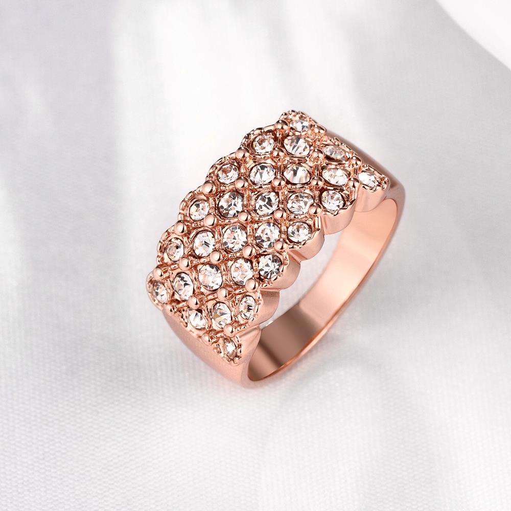 Wholesale Classic Rose Gold Plant White Rhinestone Ring TGGPR995 2