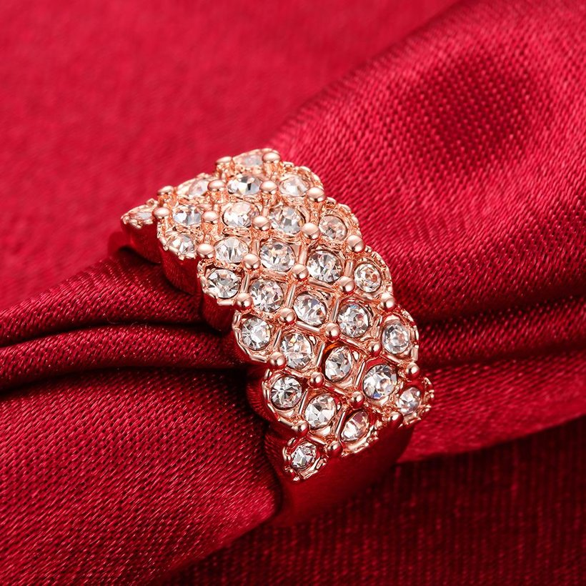 Wholesale Classic Rose Gold Plant White Rhinestone Ring TGGPR995 3