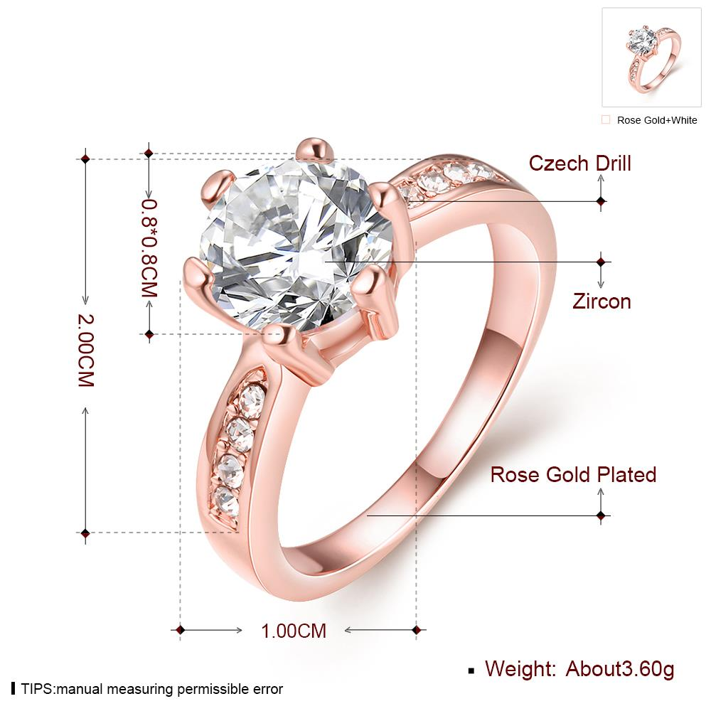 Wholesale Classic Rose Gold Plant White Rhinestone Ring TGGPR1092 0