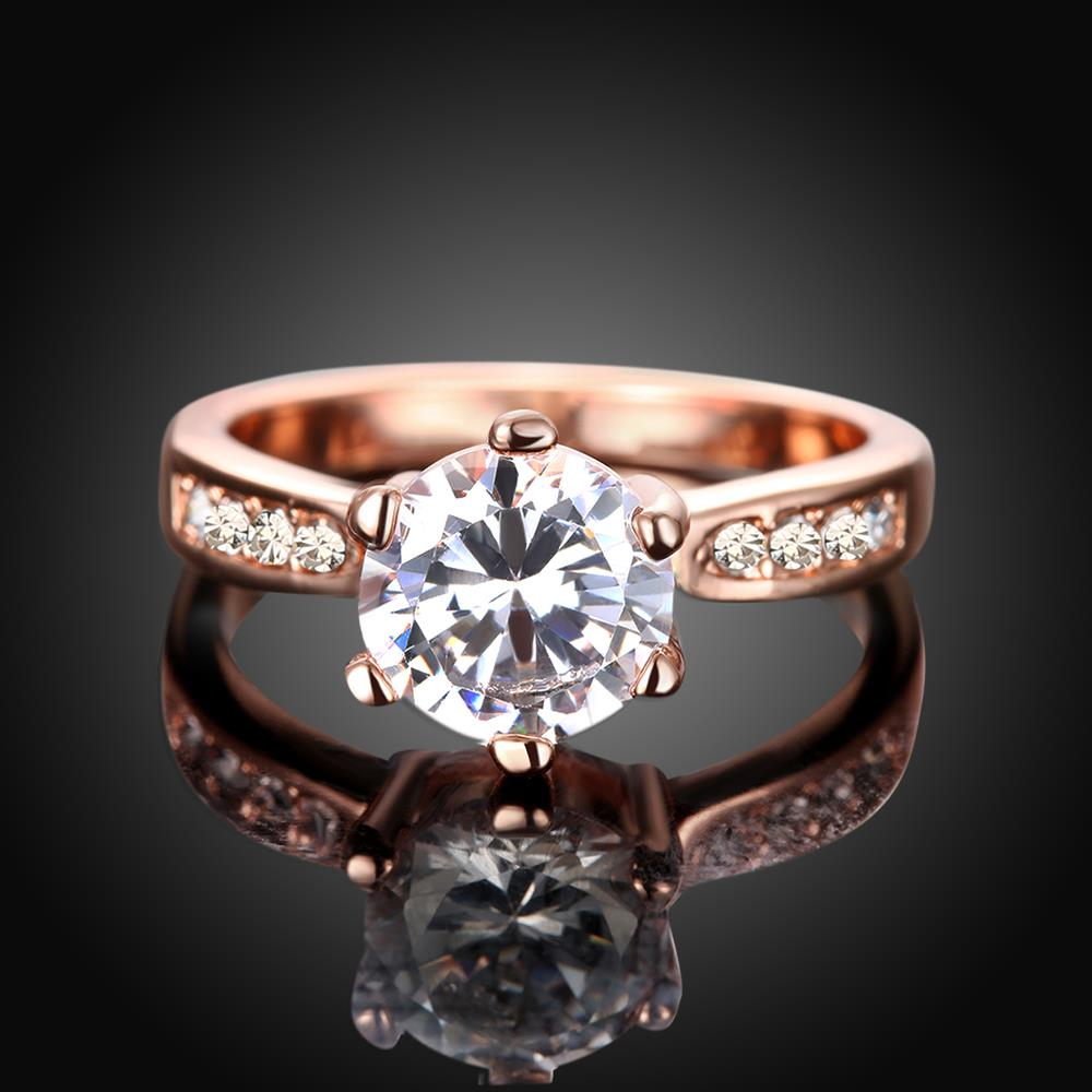 Wholesale Classic Rose Gold Plant White Rhinestone Ring TGGPR1092 1
