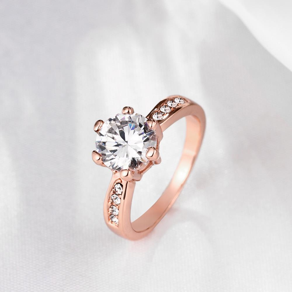 Wholesale Classic Rose Gold Plant White Rhinestone Ring TGGPR1092 2