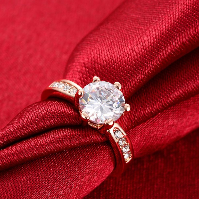 Wholesale Classic Rose Gold Plant White Rhinestone Ring TGGPR1092 3