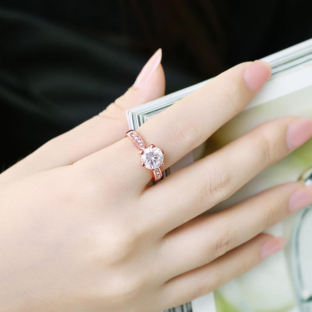 Wholesale Classic Rose Gold Plant White Rhinestone Ring TGGPR1092 4