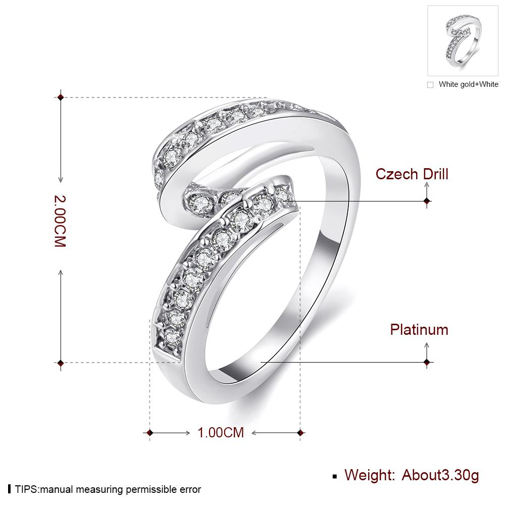 Wholesale Trendy Platinum Geometric White Rhinestone Ring TGGPR1154 0