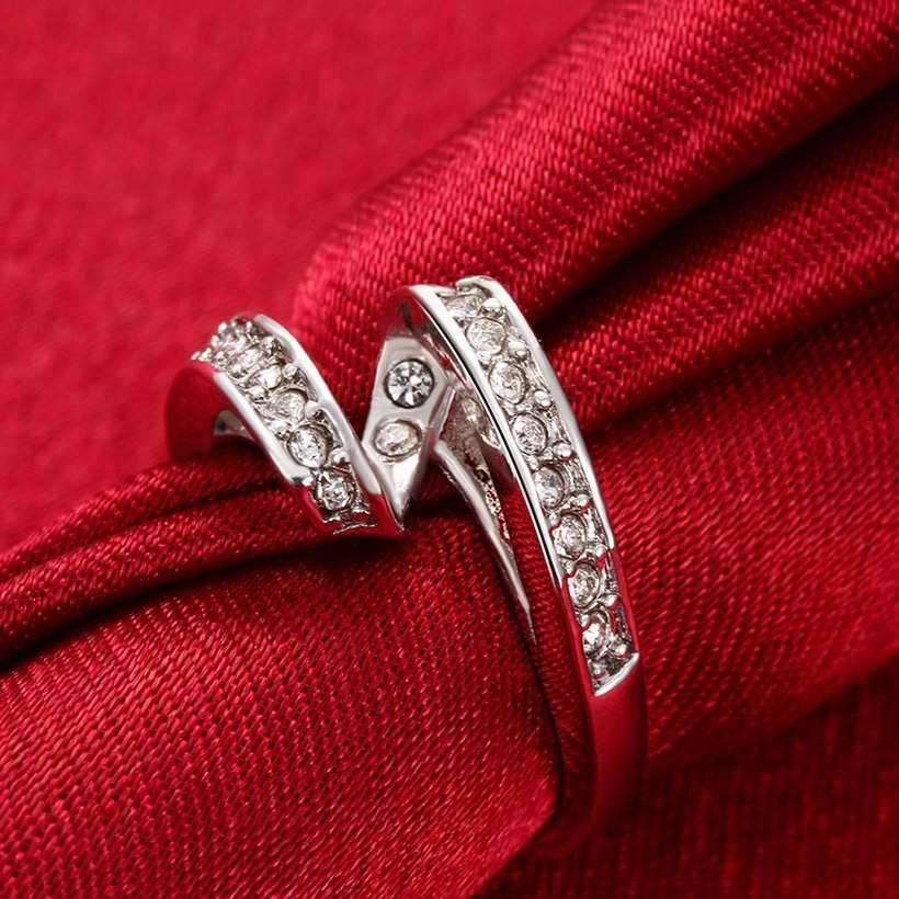 Wholesale Trendy Platinum Geometric White Rhinestone Ring TGGPR1154 3