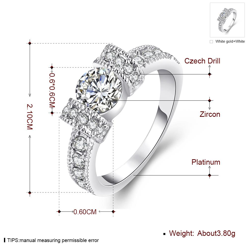 Wholesale Bohemia Platinum Geometric White Rhinestone Ring TGGPR1224 0