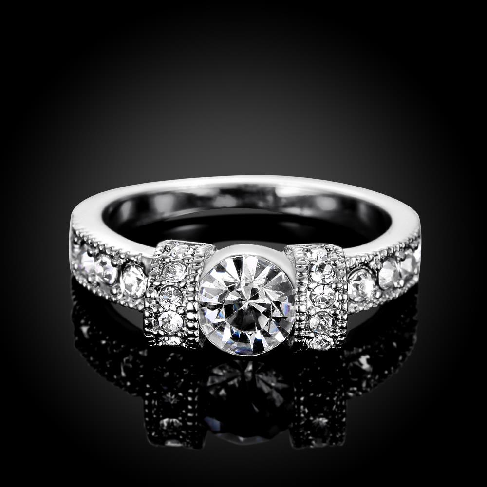 Wholesale Bohemia Platinum Geometric White Rhinestone Ring TGGPR1224 1