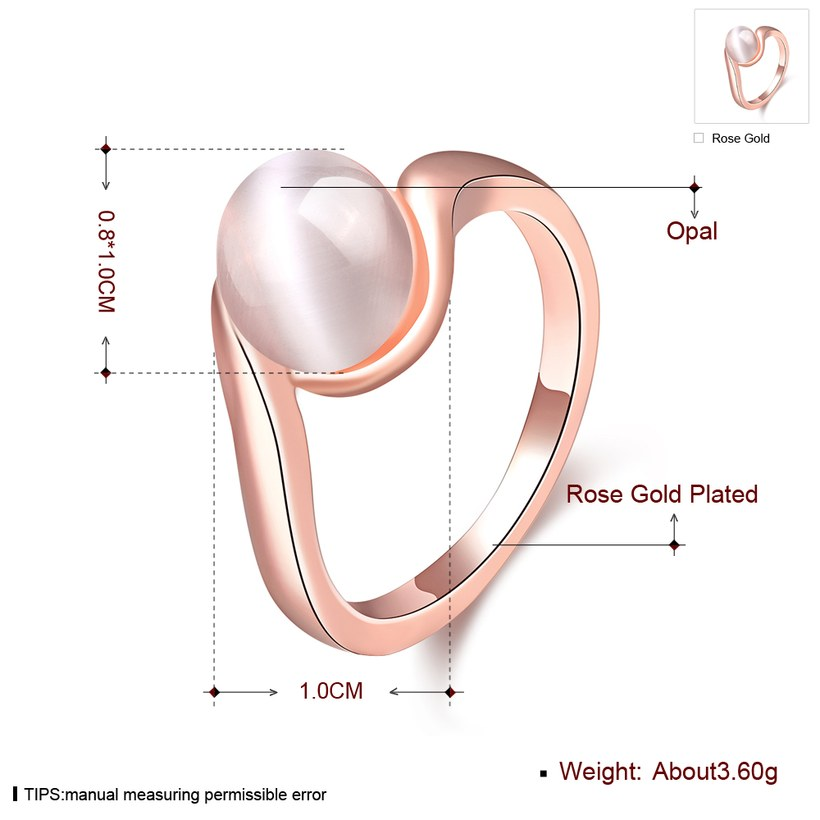Wholesale Romantic Rose Gold Round White Stone Ring TGGPR1484 0