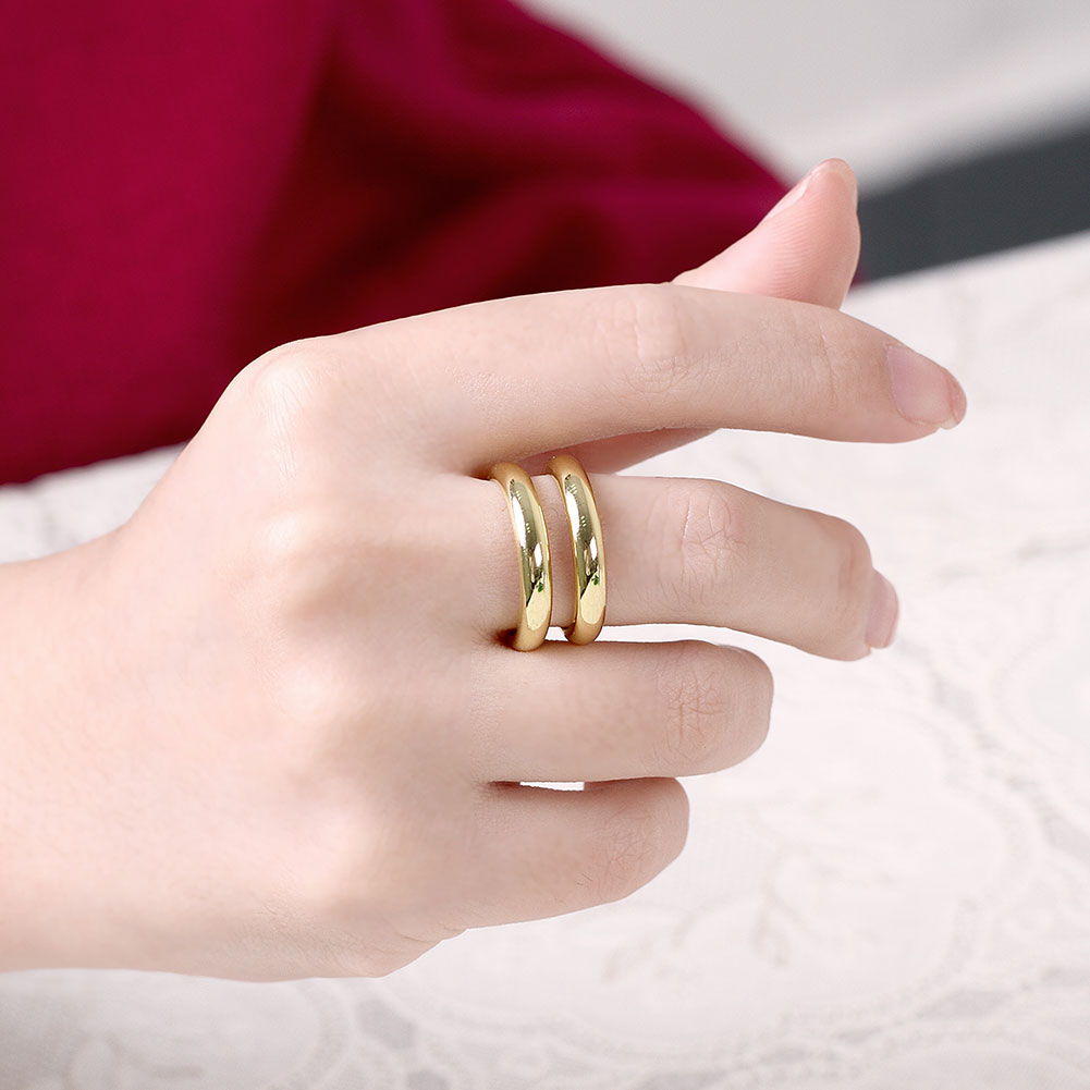 Wholesale Trendy 24K Gold Geometric Ring TGGPR1503 1