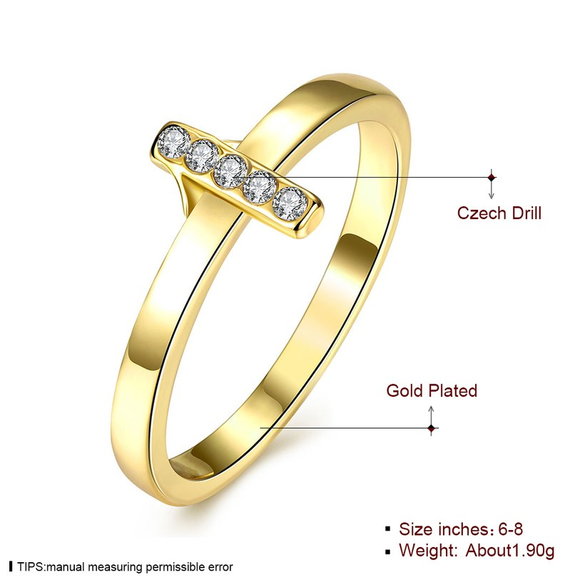 Wholesale Trendy Antique Gold Cross White Crystal Ring TGGPR167 0