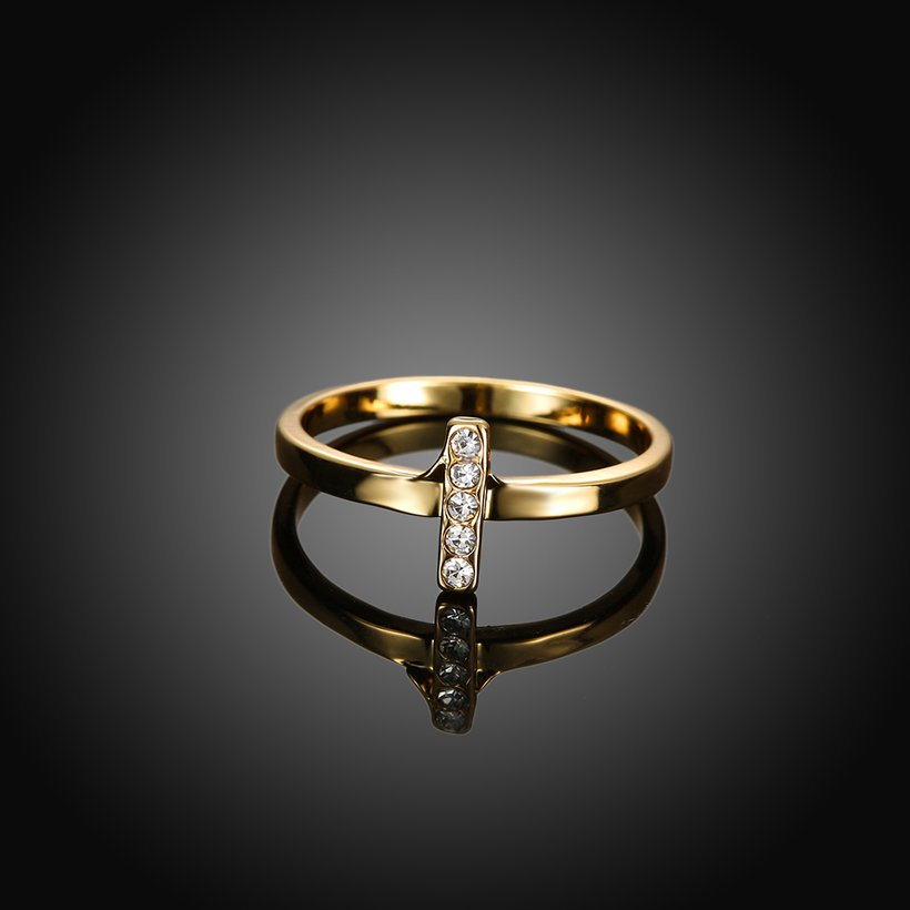 Wholesale Trendy Antique Gold Cross White Crystal Ring TGGPR167 1