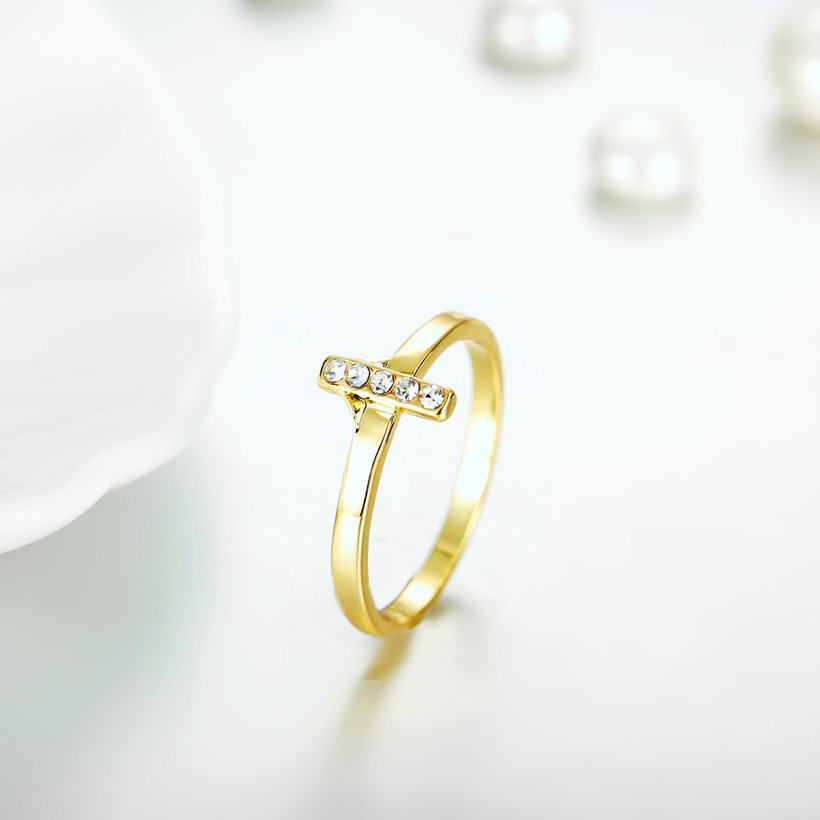 Wholesale Trendy Antique Gold Cross White Crystal Ring TGGPR167 2