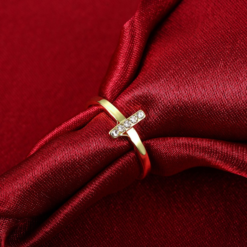 Wholesale Trendy Antique Gold Cross White Crystal Ring TGGPR167 3