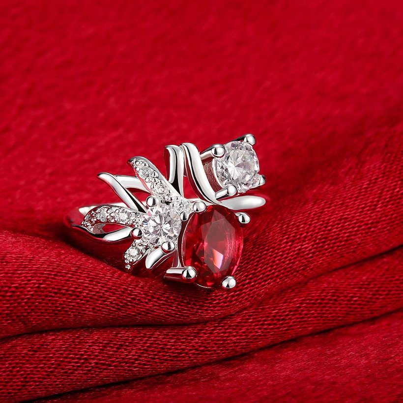 Wholesale Trendy Silver Geometric Red CZ Ring TGSPR108 1