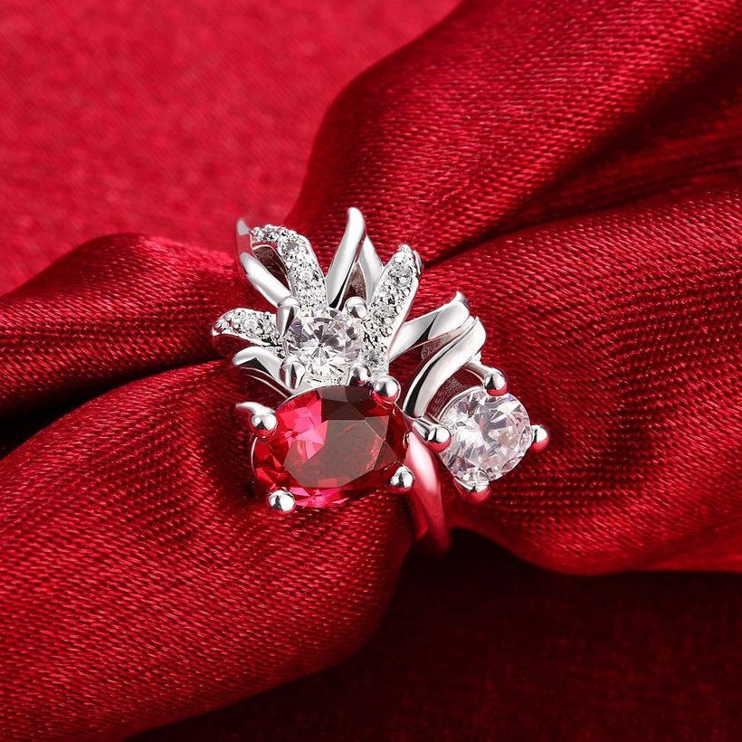 Wholesale Trendy Silver Geometric Red CZ Ring TGSPR108 2