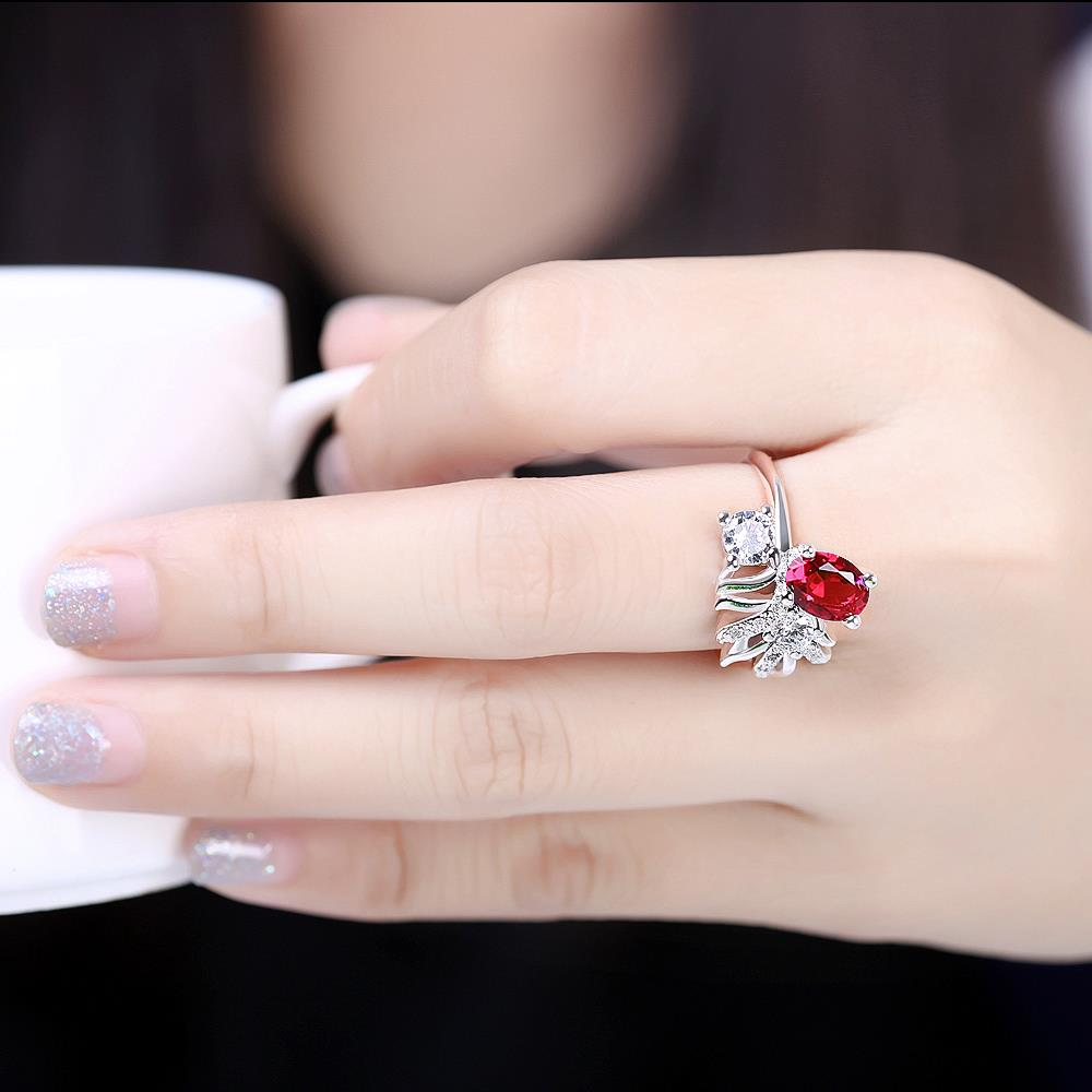 Wholesale Trendy Silver Geometric Red CZ Ring TGSPR108 3