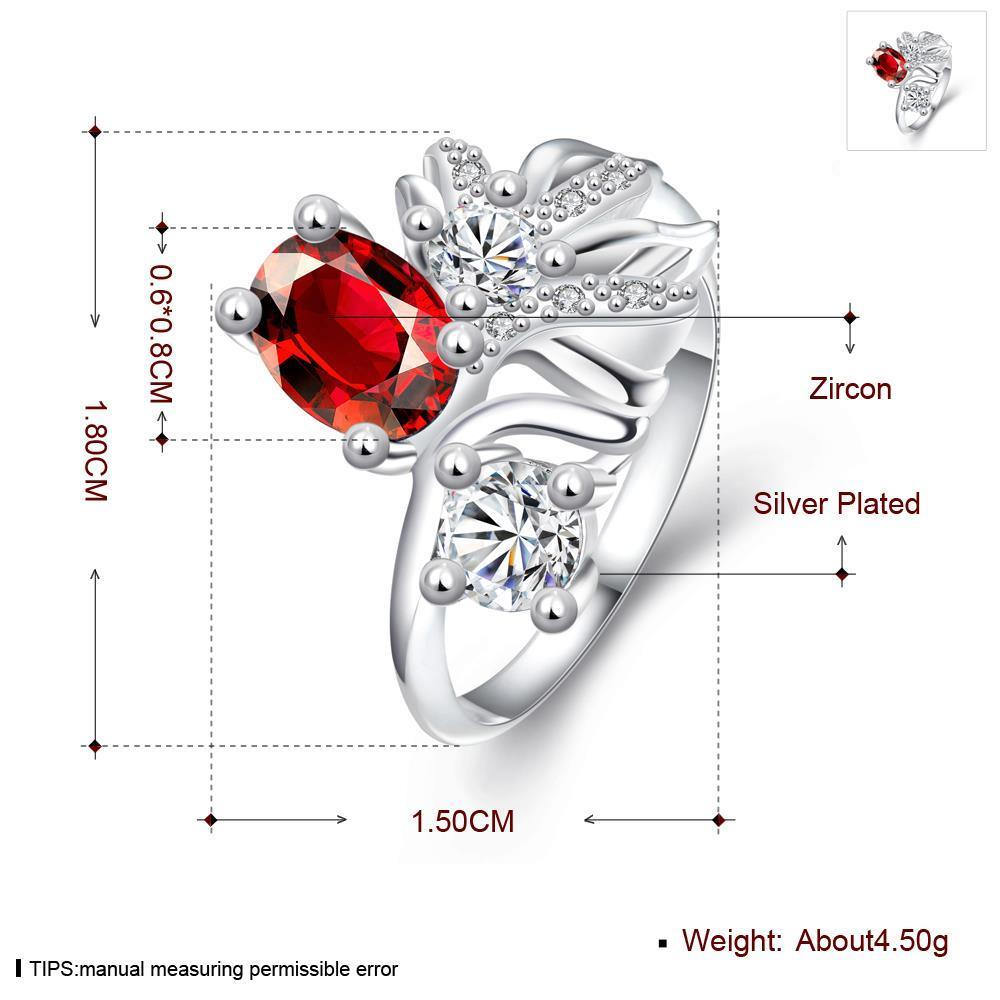 Wholesale Trendy Silver Geometric Red CZ Ring TGSPR108 4