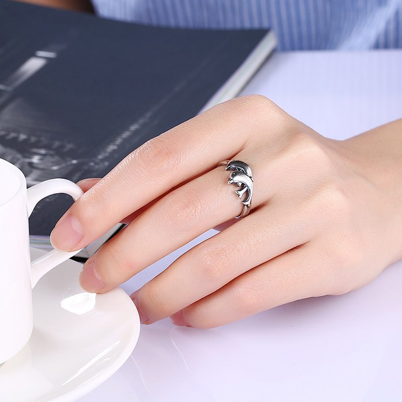 Wholesale Hot Sale Fashion Vintage Silver Double Dolphin rings Happy Women In Love Silver Plated Ring Accessories for unisex  TGVGR003 0