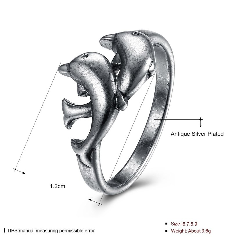 Wholesale Hot Sale Fashion Vintage Silver Double Dolphin rings Happy Women In Love Silver Plated Ring Accessories for unisex  TGVGR003 4