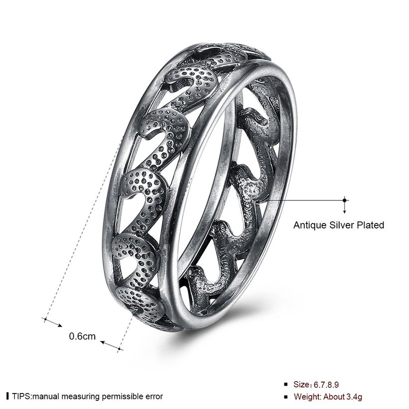 Wholesale Trendy Antique Silver Geometric Ring Newly Punk style Wavy Pattern Personality Party Ring unisex Jewelry TGVGR004 4