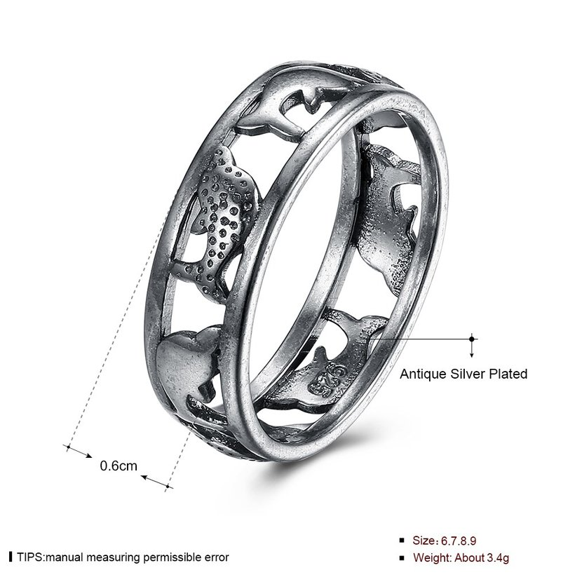 Wholesale Hot Sale Fashion Vintage Silve Dolphin rings Happy Women In Love Silver Plated Ring Accessories for unisex gift TGVGR009 4