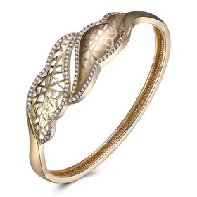 Wholesale Leaves to hollow out Champagne Gold CZ Bangle TGGPBL052