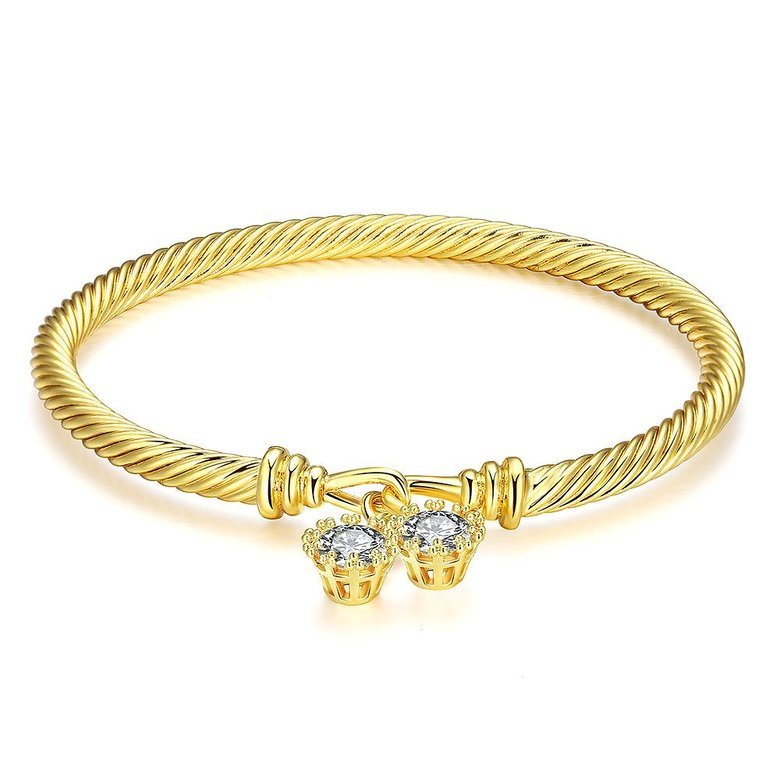 Wholesale Romantic 24K Gold Round CZ Bangle&Cuff TGGPBL035