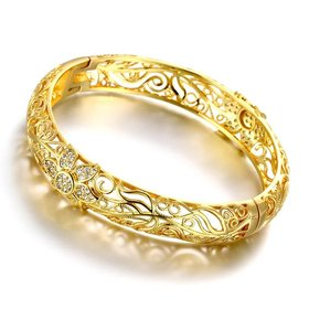Wholesale Romantic 24K Gold Plant CZ Bangle&Cuff TGGPBL018
