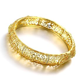 Wholesale Romantic 24K Gold Plant CZ Bangle&Cuff TGGPBL020